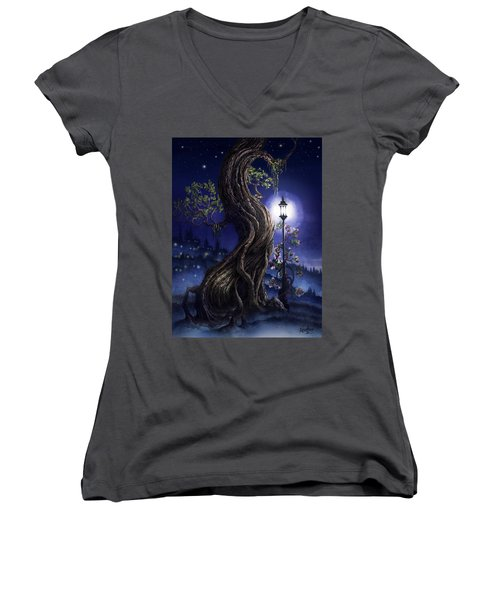 Women's V-Neck T-Shirt (Junior Cut) featuring the painting Sylvia And Her Lamp At Dusk by Curtiss Shaffer