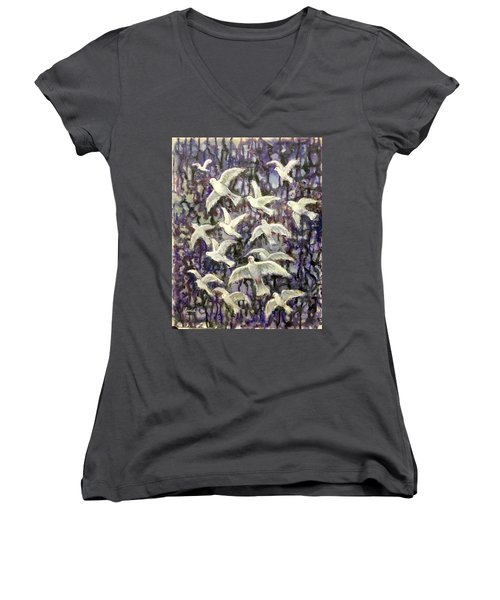 Women's V-Neck T-Shirt (Junior Cut) featuring the painting Symbol  Of Peace by Laila Awad Jamaleldin