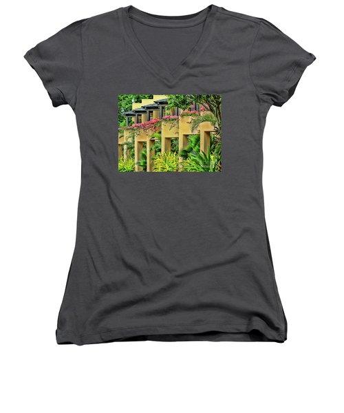 Symmetry  Women's V-Neck T-Shirt (Junior Cut) by Karen Lewis