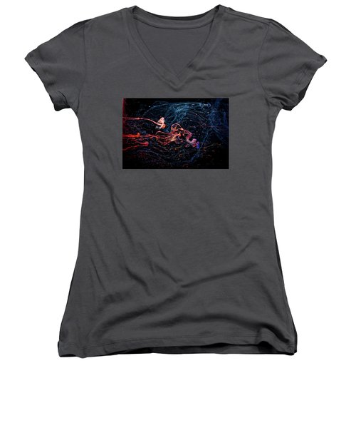 Symphony - Abstract Photography - Paint Pouring Women's V-Neck T-Shirt (Junior Cut) by Modern Art Prints
