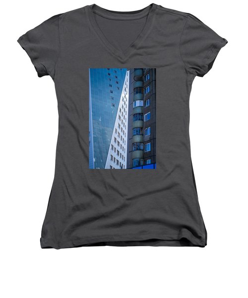 Women's V-Neck T-Shirt (Junior Cut) featuring the photograph Synergy Between Old And New Apartments by John Williams