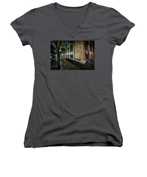 Women's V-Neck T-Shirt (Junior Cut) featuring the photograph Syracuse Sidewalks by Everet Regal