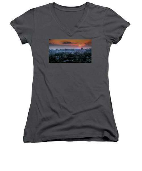 Syracuse Sunrise Women's V-Neck T-Shirt (Junior Cut) by Everet Regal