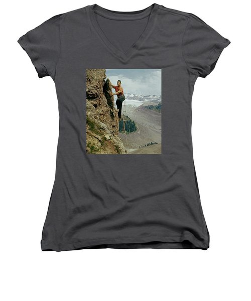 T-902901 Fred Beckey Climbing Women's V-Neck (Athletic Fit)