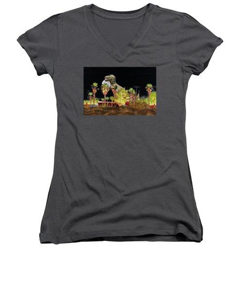 T-rex In The Desert Night Women's V-Neck (Athletic Fit)