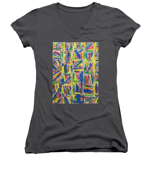 Women's V-Neck T-Shirt (Junior Cut) featuring the painting Artwork On T-shirt - 009 by Mudiama Kammoh