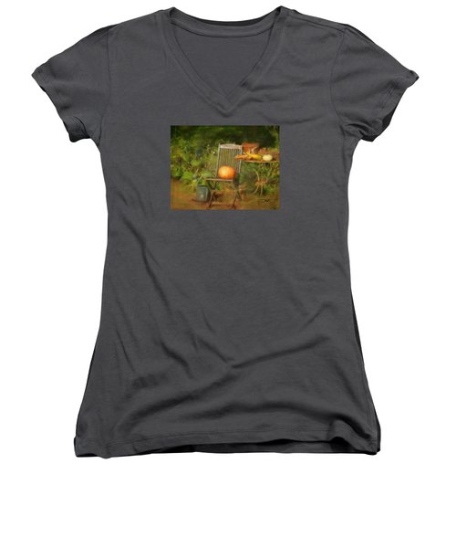 Table For One Women's V-Neck T-Shirt (Junior Cut) by Colleen Taylor
