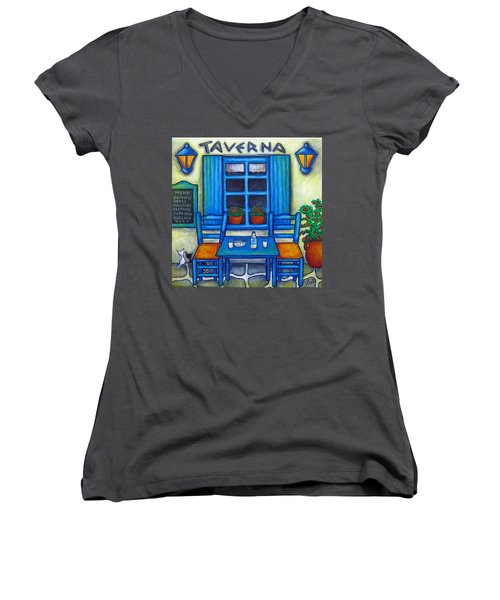 Table For Two In Greece Women's V-Neck T-Shirt
