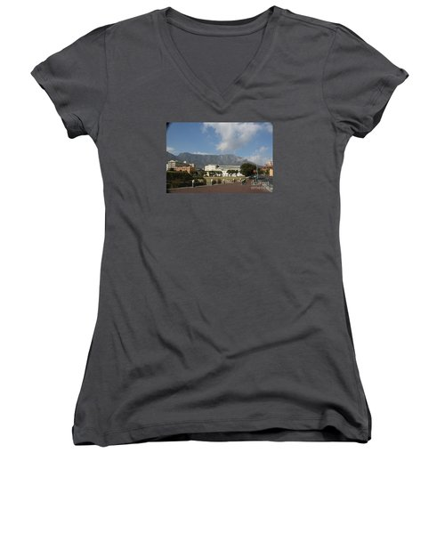 Women's V-Neck T-Shirt (Junior Cut) featuring the photograph Table Mountain, Capetown by Bev Conover