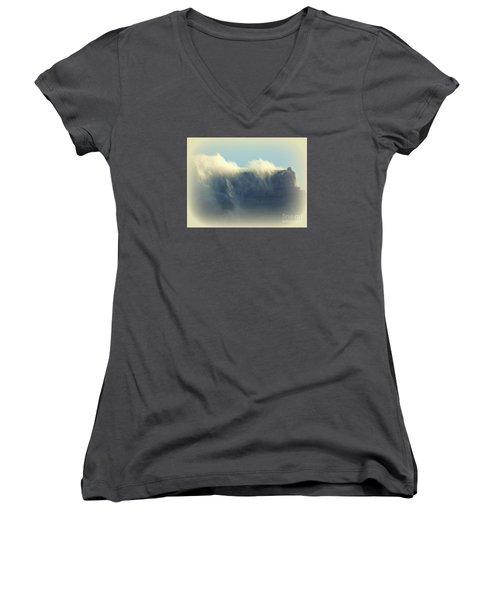 Table Rock With Cloud 2 Women's V-Neck T-Shirt (Junior Cut) by John Potts
