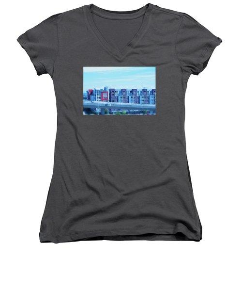 Tacoma Blues - Cityscape Art Print Women's V-Neck (Athletic Fit)