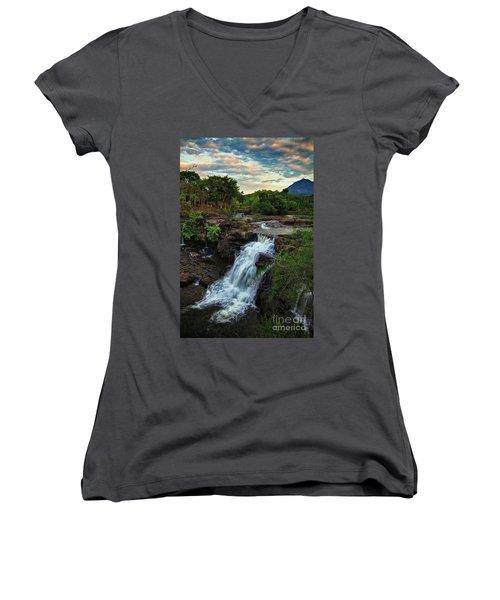 Tad Lo Waterfall, Bolaven Plateau, Champasak Province, Laos Women's V-Neck T-Shirt (Junior Cut) by Sam Antonio Photography