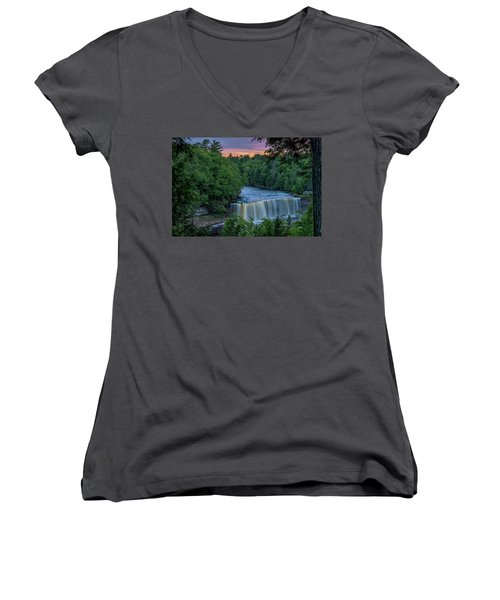 Tahquamenon Falls Sunset. Women's V-Neck T-Shirt