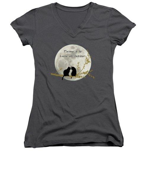 T'aime A La Lune Et Retour Women's V-Neck T-Shirt (Junior Cut) by Linda Lees