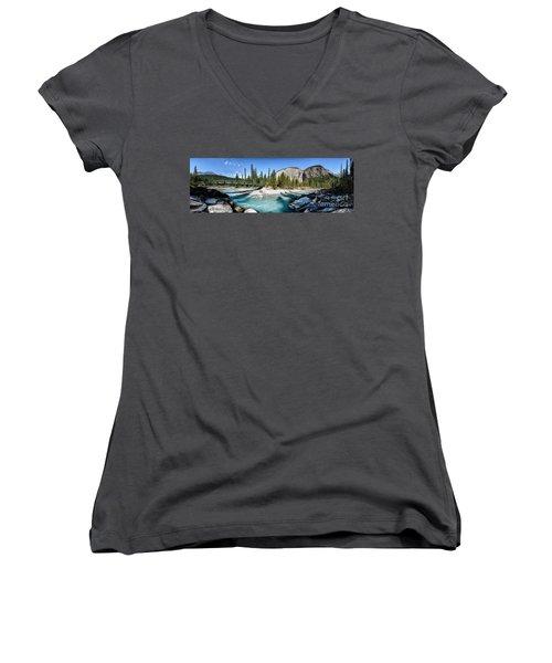 Takakkaw Falls Women's V-Neck T-Shirt (Junior Cut) by Brad Allen Fine Art