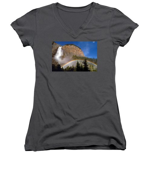 Takakkaw Falls B C Canada   Women's V-Neck T-Shirt (Junior Cut) by Rod Jellison