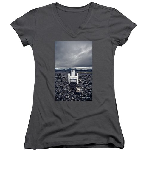 Women's V-Neck T-Shirt featuring the photograph Take A Seat Iceland by Edward Fielding