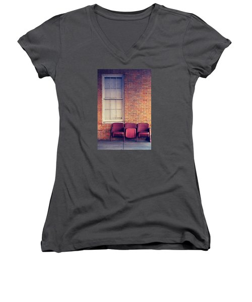 Women's V-Neck T-Shirt (Junior Cut) featuring the photograph Take A Seat by Trish Mistric