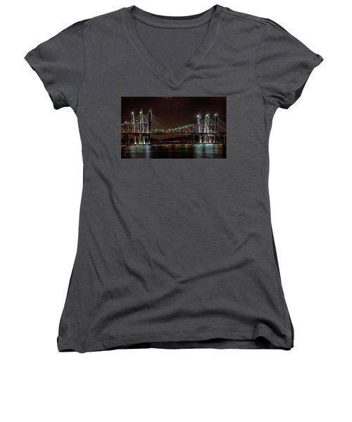 Tale Of 2 Bridges At Night Women's V-Neck (Athletic Fit)
