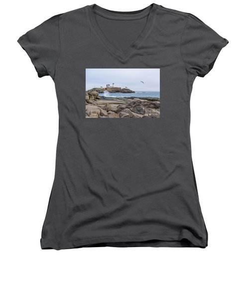 Tale Of Two Lighthouse Women's V-Neck T-Shirt (Junior Cut) by Patrick Fennell
