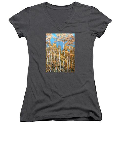 Tall Poplars Women's V-Neck (Athletic Fit)