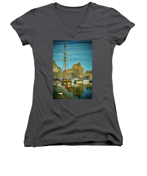Tall Ship In Saint Malo Women's V-Neck