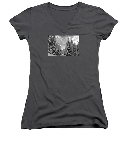 Tall Snowy Trees Women's V-Neck T-Shirt (Junior Cut) by Lynn Hopwood