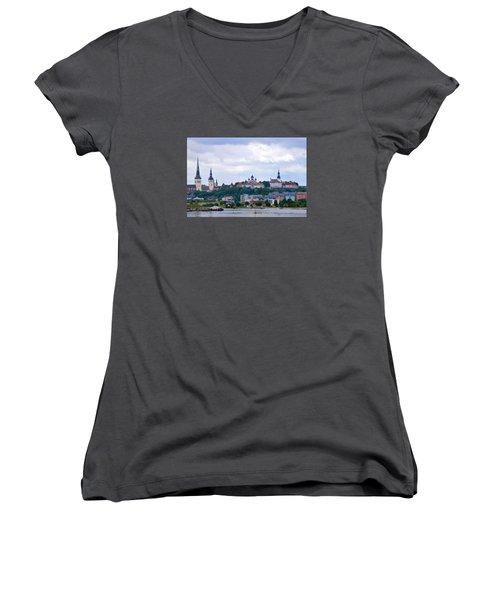 Tallinn Estonia. Women's V-Neck T-Shirt (Junior Cut) by Terence Davis