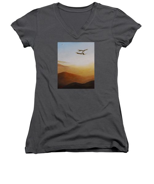 Women's V-Neck T-Shirt (Junior Cut) featuring the painting Talon Lock by Dan Wagner