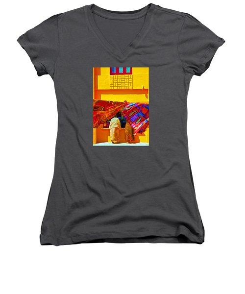 Women's V-Neck T-Shirt (Junior Cut) featuring the photograph Tamil Nadu Shop by Dennis Cox WorldViews
