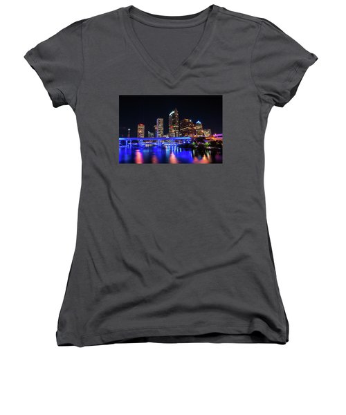 Tampa Skyline Women's V-Neck T-Shirt (Junior Cut) by Steven M