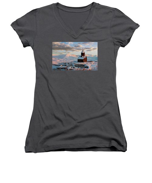 Tanahat Monastery At Sunset In Winter, Armenia Women's V-Neck T-Shirt