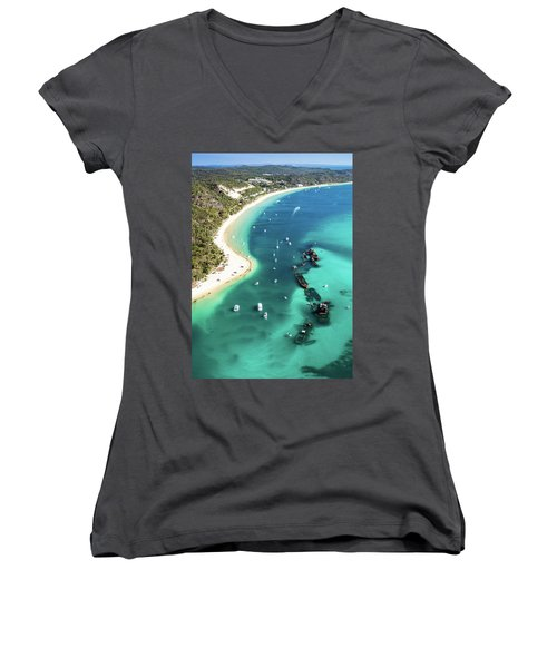 Tangalooma Wrecks Women's V-Neck T-Shirt (Junior Cut) by Peta Thames