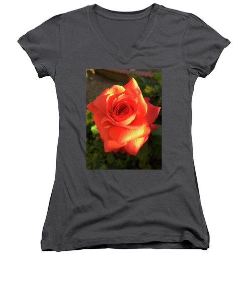 Tangerine Dream Women's V-Neck T-Shirt (Junior Cut) by Russell Keating