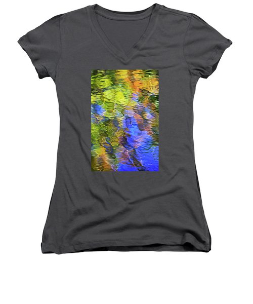 Women's V-Neck T-Shirt featuring the photograph Tangerine Twist Mosaic Abstract Art by Christina Rollo