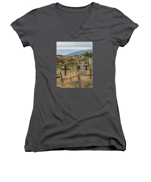Taos Pueblo Cemetery Women's V-Neck