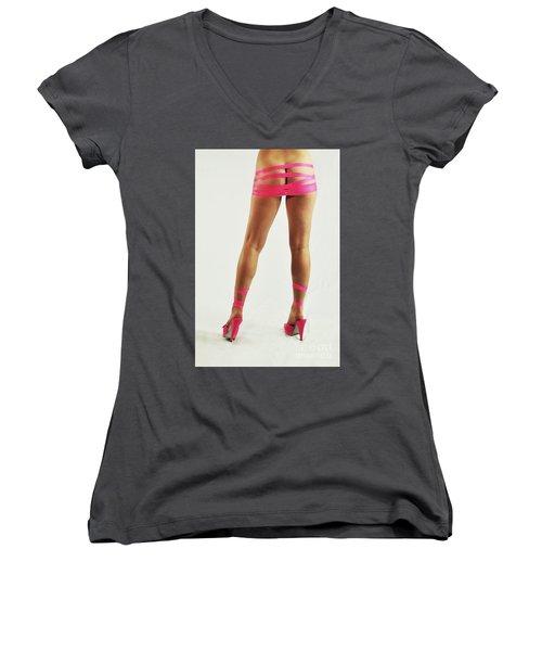 Tape And Heels Women's V-Neck T-Shirt (Junior Cut) by Robert WK Clark