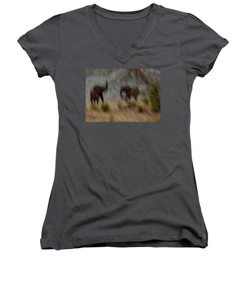 Tarangire Elephants 1 Women's V-Neck T-Shirt