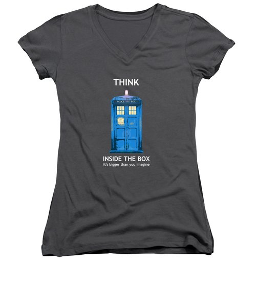 Tardis - Think Inside The Box Women's V-Neck T-Shirt (Junior Cut) by Richard Reeve