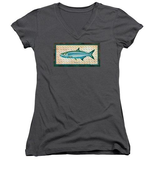 Tarpon Women's V-Neck T-Shirt (Junior Cut) by Jon Q Wright