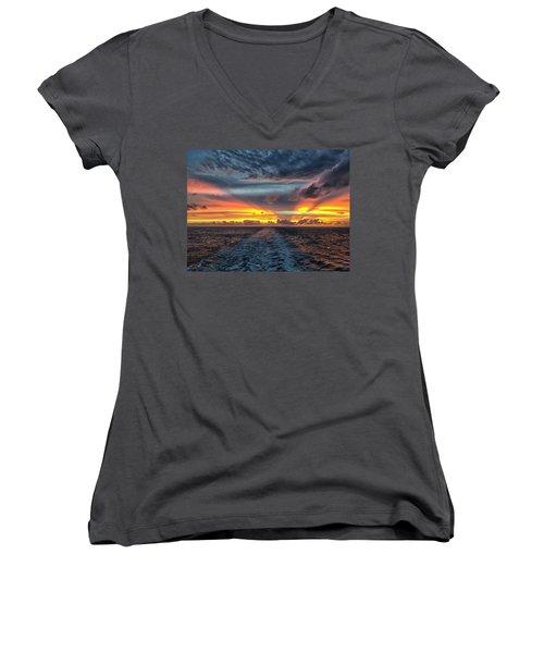 Tasman Sea Sunset Women's V-Neck T-Shirt