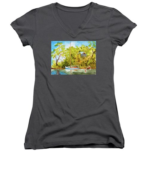 Women's V-Neck featuring the painting Tasmanian Yacht 'weene' 105 Year Old A1 Design by Dorothy Darden