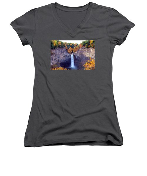 Taughannock Waterfalls In Autumn Women's V-Neck T-Shirt (Junior Cut) by Paul Ge