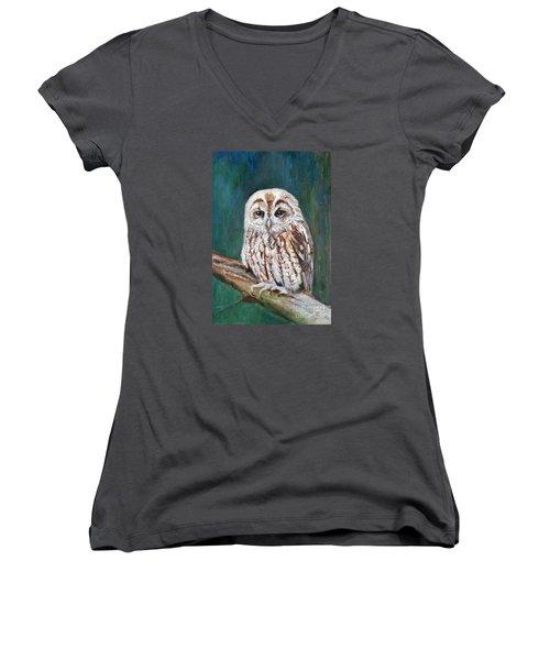 Tawny Owl Women's V-Neck T-Shirt (Junior Cut) by Veronica Rickard