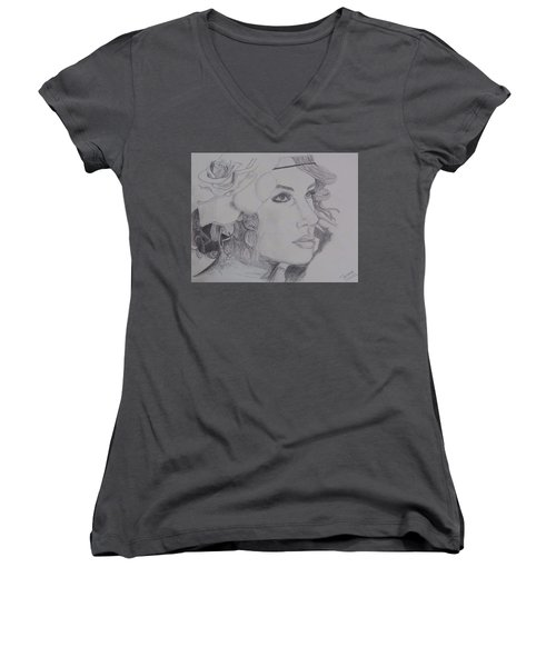 Taylor Swift Women's V-Neck T-Shirt (Junior Cut) by Tanmaya Chugh
