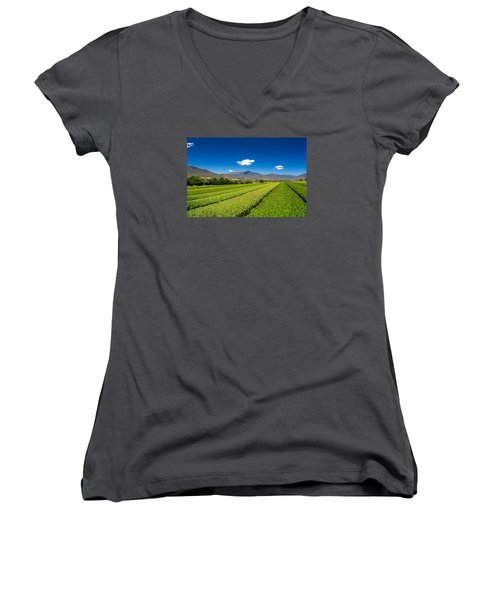 Tea In The Valley Women's V-Neck T-Shirt (Junior Cut) by Mark Lucey