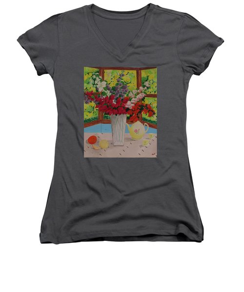 Women's V-Neck T-Shirt (Junior Cut) featuring the painting Tea Time by Hilda and Jose Garrancho