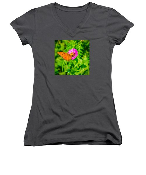 Women's V-Neck T-Shirt (Junior Cut) featuring the photograph Teacup The Butterfly by Ken Stanback