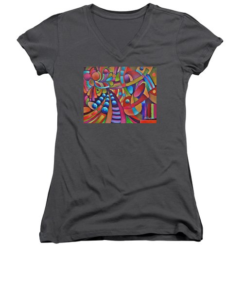 Technicolor Bloom Women's V-Neck T-Shirt (Junior Cut) by Jason Williamson