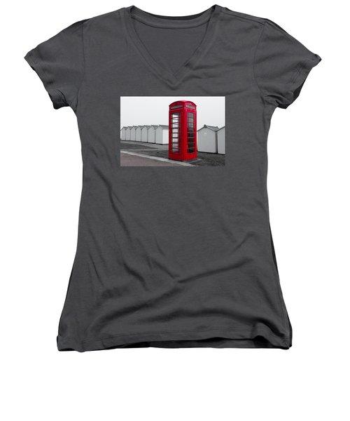 Telephone Box By The Sea I Women's V-Neck
